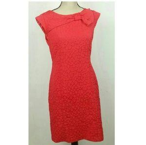Sandra Darren Sheath Textured Midi Bow Dress